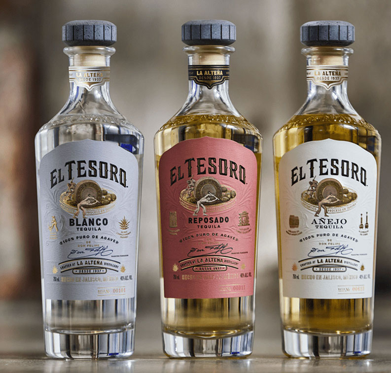 Close-up photo of El Tesoro tequila Blanco, Reposado, and Añejo bottles