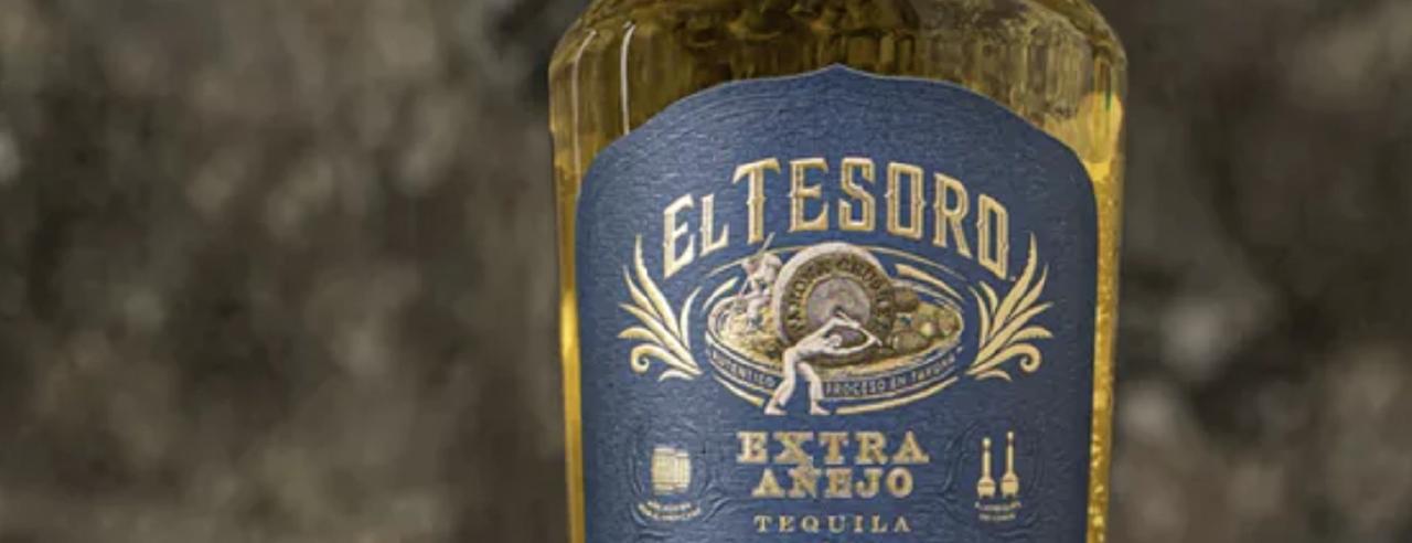 A bottle of El Tesoro's Extra Añejo Tequila.