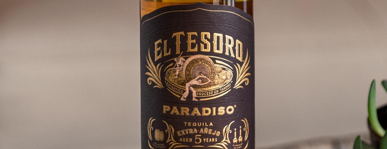 A bottle of El Tesoro's Paradiso Tequila.