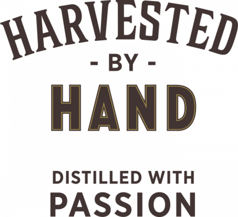 Harvested by hand, distilled with passion text.