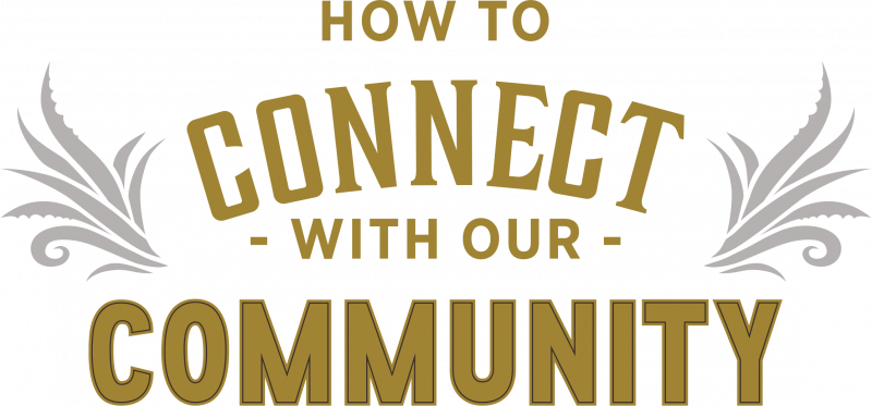 How to connect with our community text.
